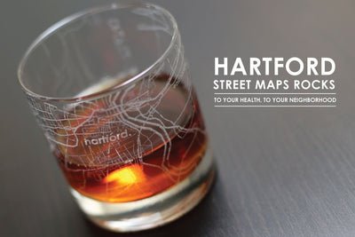 Hartford Map Rocks Glass