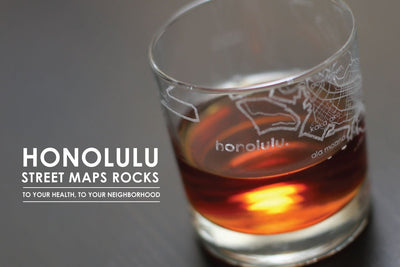 Honolulu Map Rocks Glass