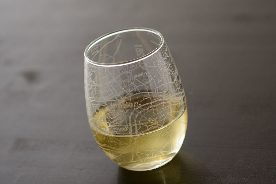 London Map Stemless Wine Glass