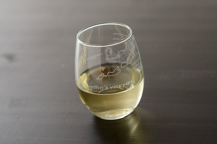 Martha's Vineyard Island Stemless Wine Glass