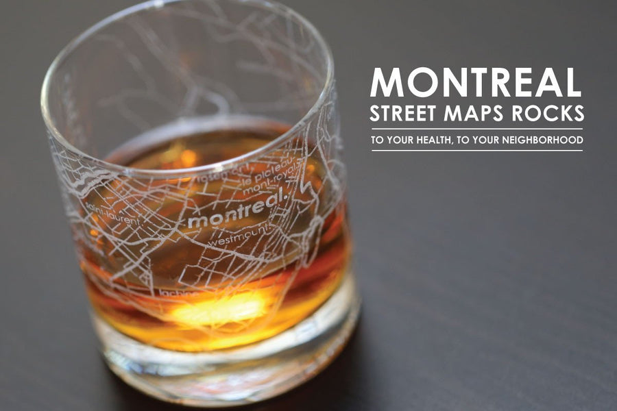Montreal Map Rocks Glass