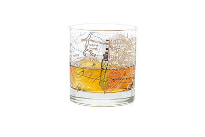Gold Leaf New York City Map Rocks Glass