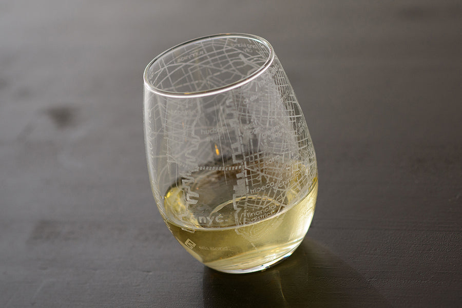 NYC Map Stemless Wine Glass