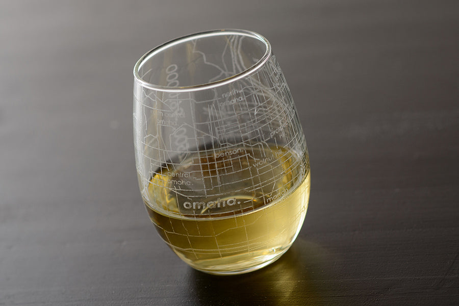 Omaha Map Stemless Wine Glass