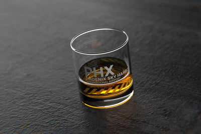 PHX Phoenix - Airports and Runways Rocks Glass