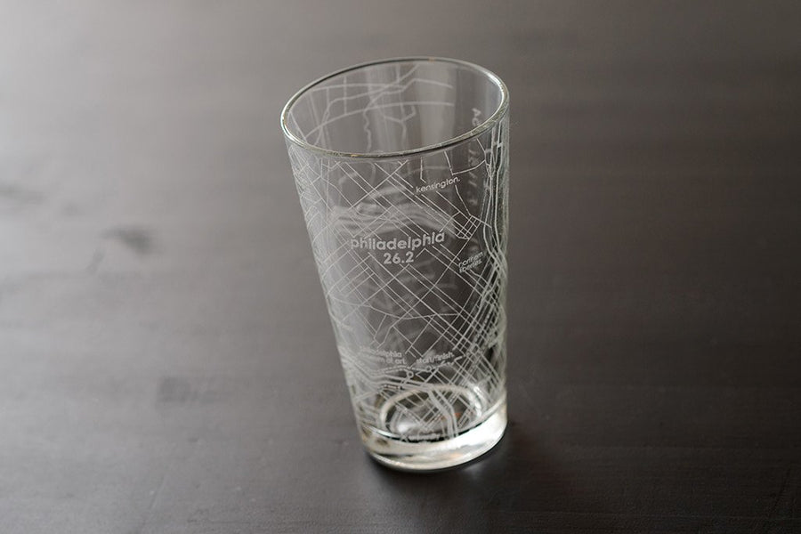 Philadelphia 26.2 - Marathon Map Pint Glass