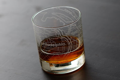 Philadelphia Map Rocks Glass