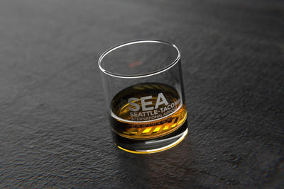 SEA Seattle/Tacoma - Airports and Runways Rocks Glass