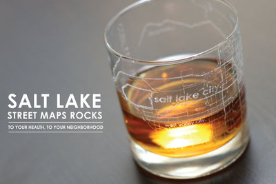 Salt Lake City Map Rocks Glass