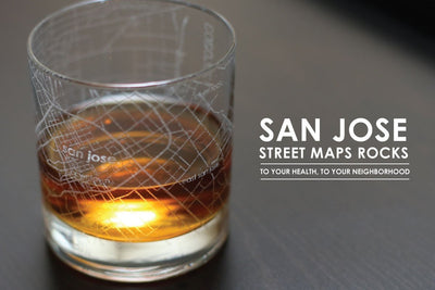 San Jose Map Rocks Glass