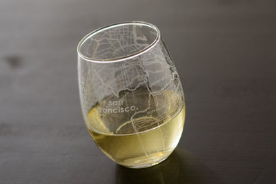 San Francisco Map Stemless Wine Glass