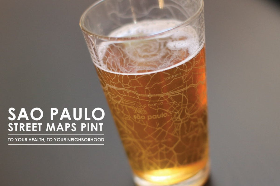Sao Paulo Map Pint Glass