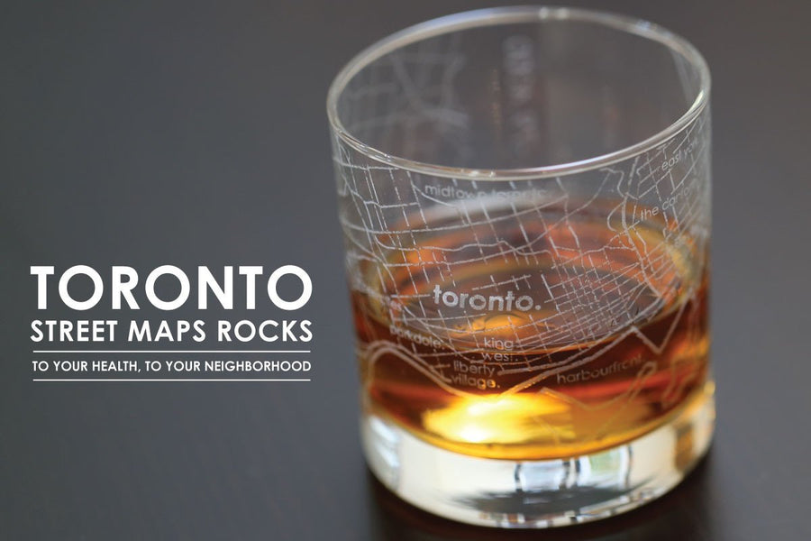 Toronto Map Rocks Glass