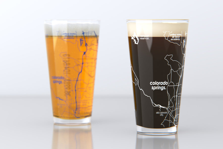 Colorado Springs, CO - U.S Air Force Academy - College Town Map Pint Glass Pair