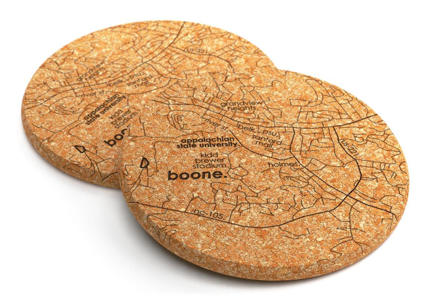 College Town Maps Cork Coaster Pair