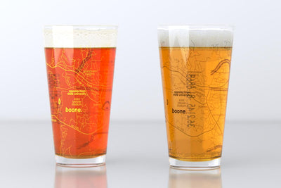 Boone, NC - Appalachian State University - College Town Map Pint Glass Pair