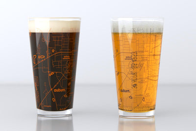 Auburn, AL - Auburn University - College Town Map Pint Glass Pair