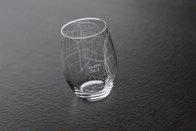 Austin 26.2 - Marathon Map Stemless Wine Glass