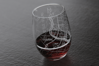 Austin Map Stemless Wine Glass