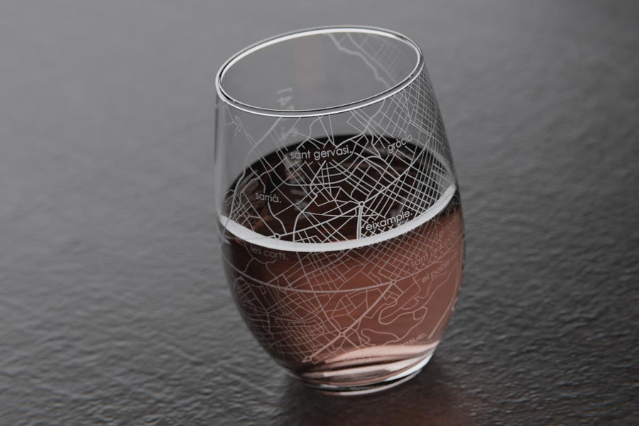 Barcelona Spain Map Stemless Wine Glass