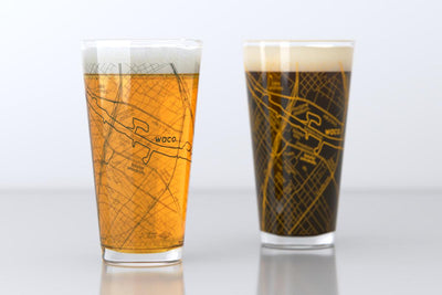 Waco, TX - Baylor - College Town Map Pint Glass Pair