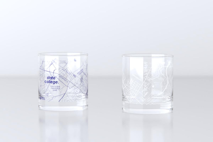 State College, PA - Penn State - College Town Map Rocks Glass Pair