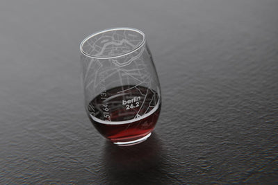 Berlin 26.2 Marathon Map Stemless Wine Glass
