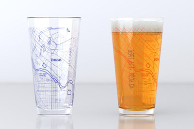 Boise, ID - Boise State - College Town Map Pint Glass Pair