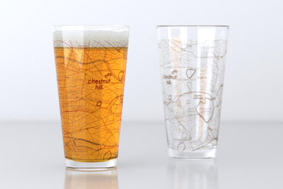 Chestnut Hill, MA - Boston College - College Town Map Pint Glass Pair