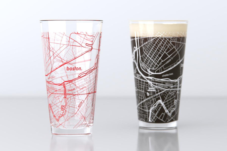 Boston, MA - Boston University - College Town Map Pint Glass Pair