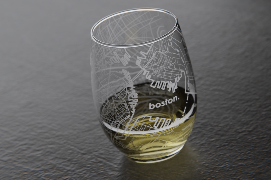 Boston Map Stemless Wine Glass