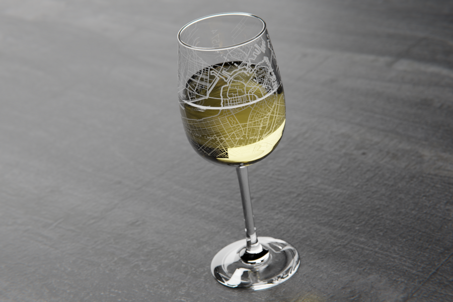 Boston Maps Wine Glass