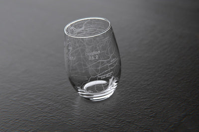 Boston 26.2 - Marathon Map Stemless Wine Glass