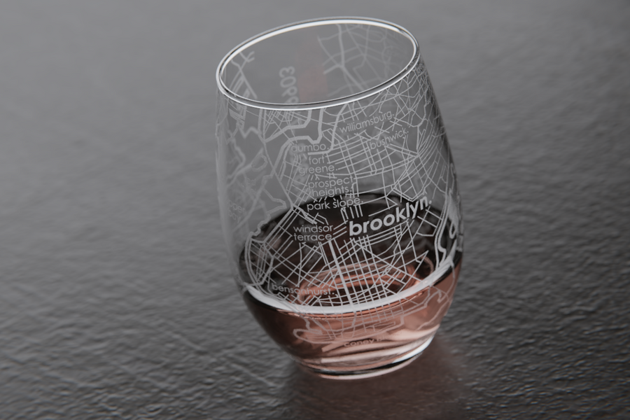 Brooklyn Map Stemless Wine Glass