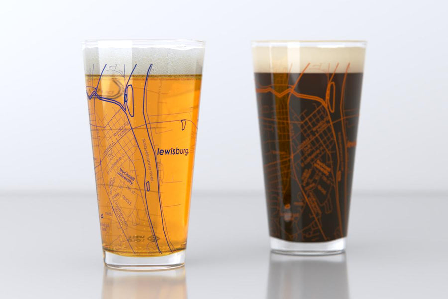 Lewisburg, PA - Bucknell University - College Town Map Pint Glass Pair