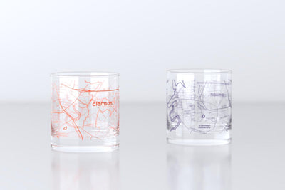 Clemson, SC - Clemson University - College Town Map Rocks Glass Pair