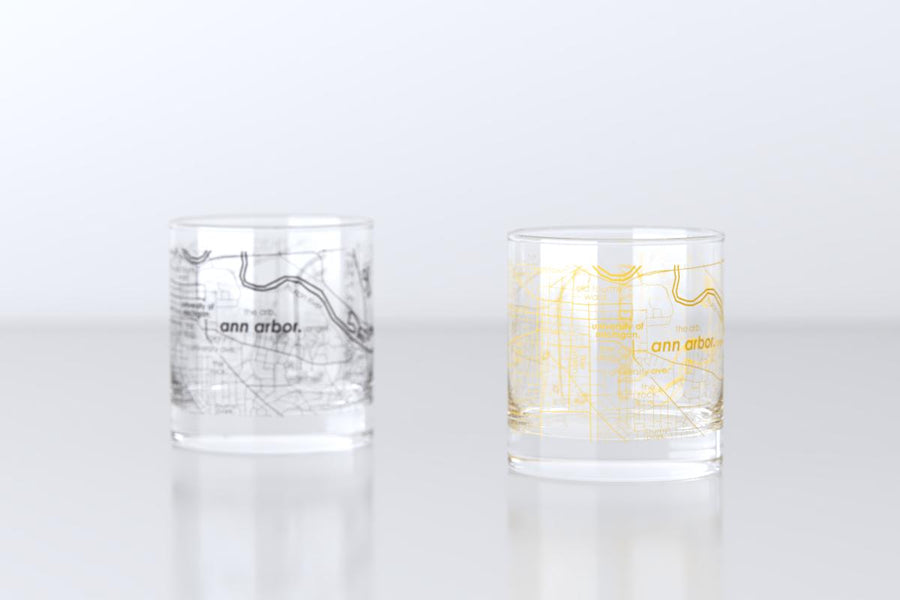 Ann Arbor, MI - University of Michigan - College Town Map Rocks Glass Pair