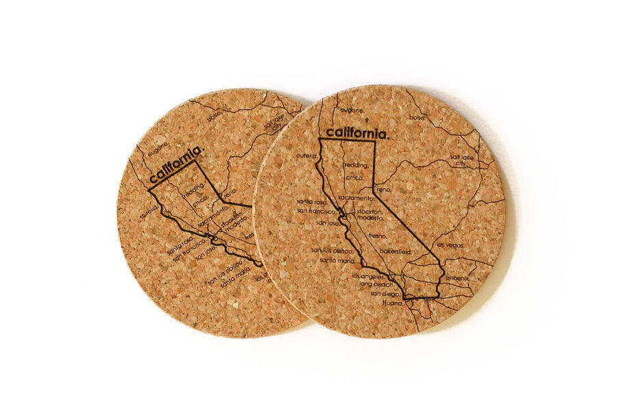 California - Cork Coaster Pair