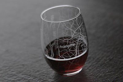 Charlotte NC Map Stemless Wine Glass