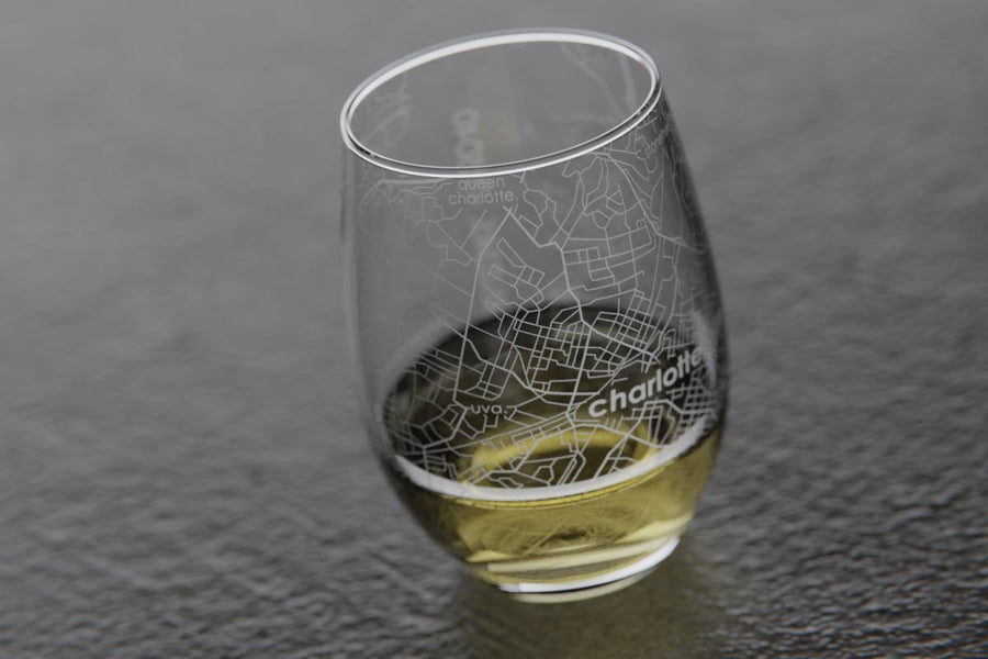 Charlottesville VA Map Stemless Wine Glass