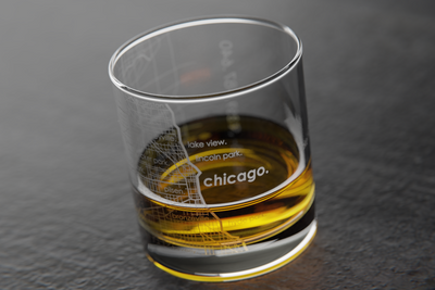 Chicago Map Rocks Glass