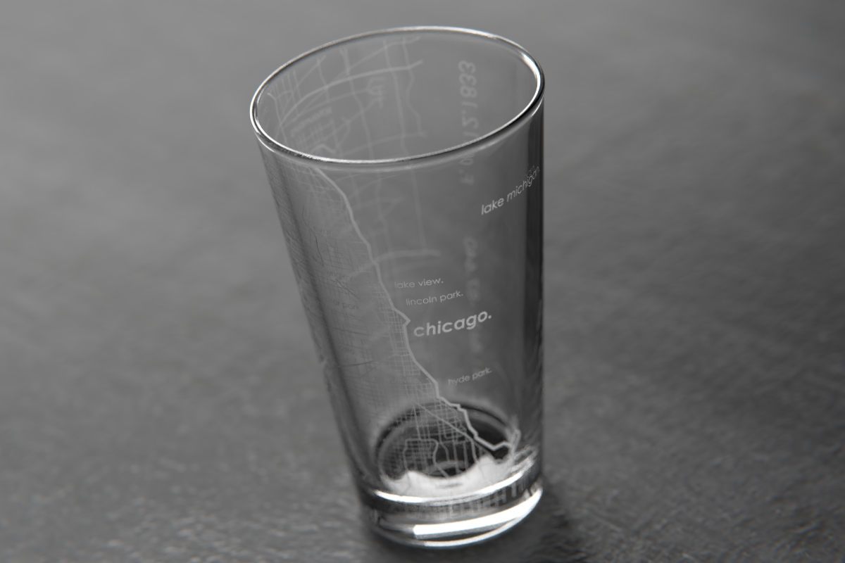 16 Oz Chicago Map Pint Glass For Sale Well Told