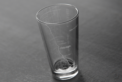 Chicago Map Pint Glass