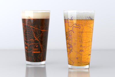 Clemson, SC - Clemson University - College Town Map Pint Glass Pair