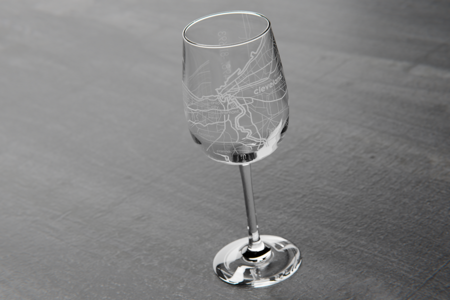 Cleveland Map Wine Glass