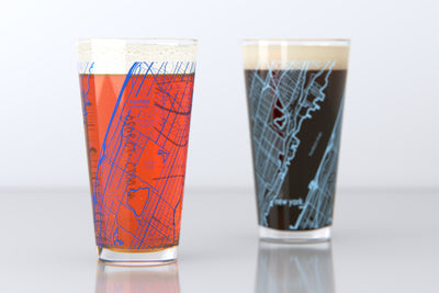 New York, NY - Columbia University - College Town Map Pint Glass Pair