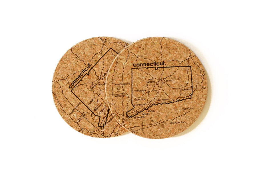 Connecticut - Cork Coaster Pair