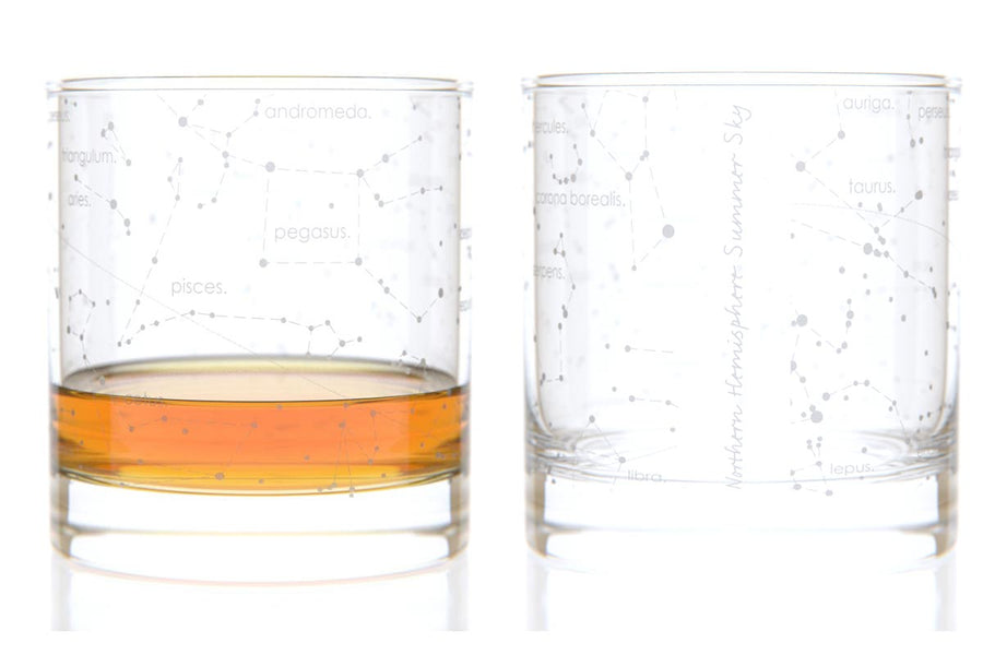 Constellation Rocks Glass Pair - Summer Sky Northern Hemisphere