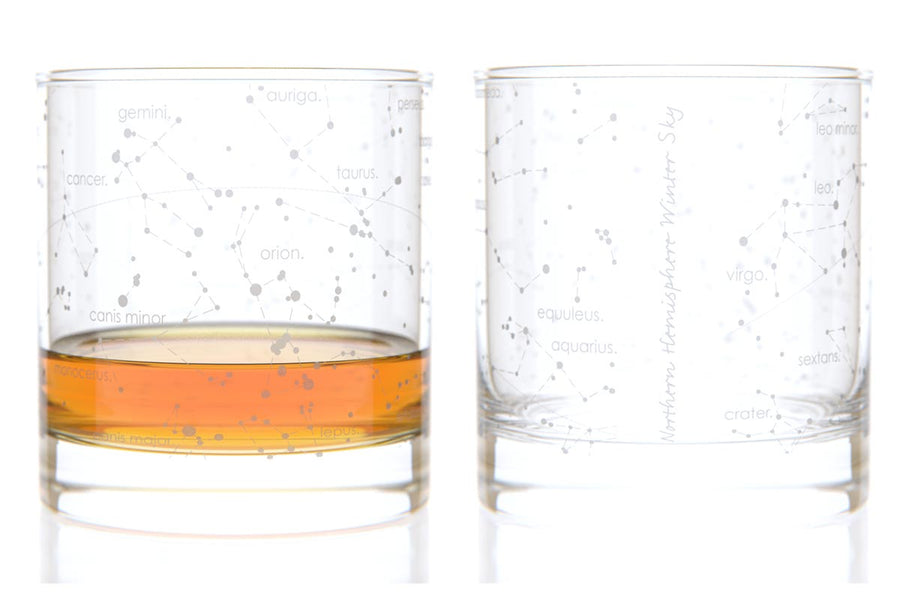 Constellation Rocks Glass Pair - Winter Sky Northern Hemisphere