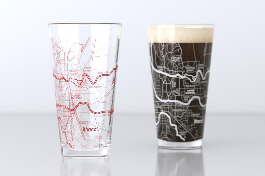 Ithaca, NY - Cornell University - College Town Map Pint Glass Pair